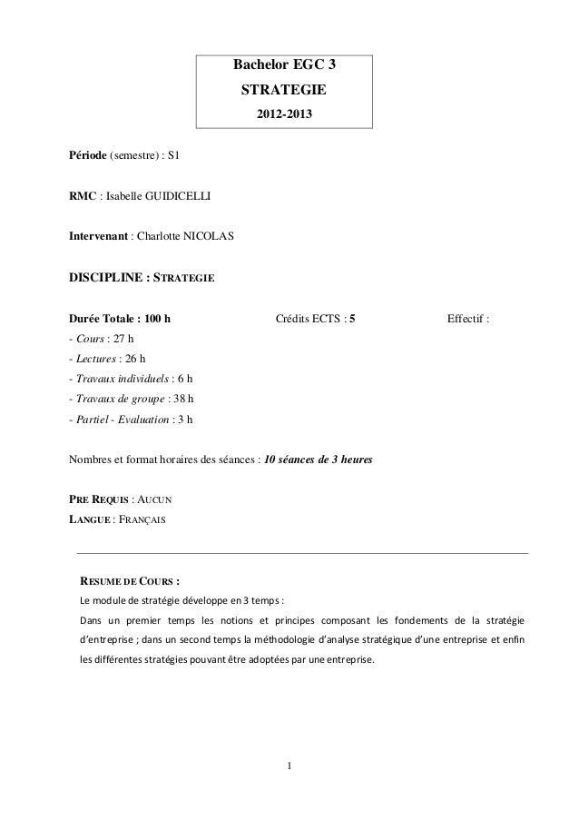 Bachelor EGC 3                                       STRATEGIE                                          2012-2013Période (...