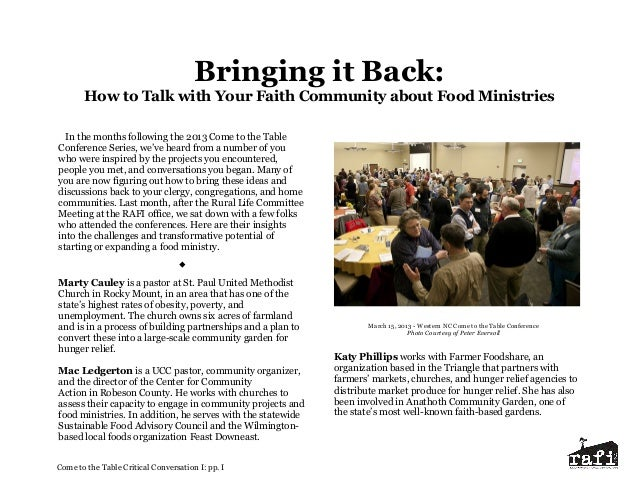 Bringing it Back: How to Talk with Your Faith Community about Food Ministries