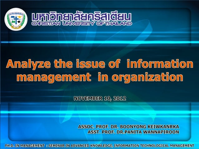 ContentsInformation Management (IM)  Information Technology Management  Information System  Information and Communications...