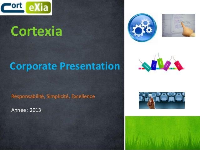Cortexia Corporate Presentation Résponsabilité, Simplicité, Excellence Année : 2013