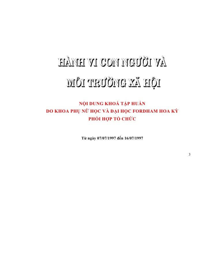 NỘI DUNG KHOÁ TẬP HUẤN DO KHOA PHỤ NỮ HỌC VÀ ĐẠI HỌC FORDHAM HOA KỲ               PHỐI HỢP TỔ CHỨC              Từ ngày 07...