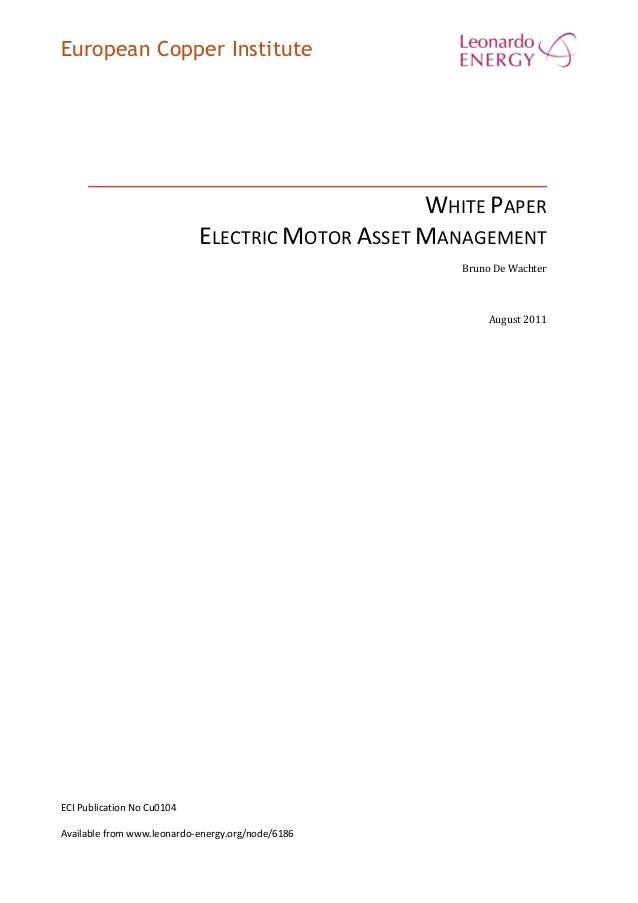 European Copper Institute WHITE PAPER ELECTRIC MOTOR ASSET MANAGEMENT Bruno De Wachter August 2011 ECI Publication No Cu01...