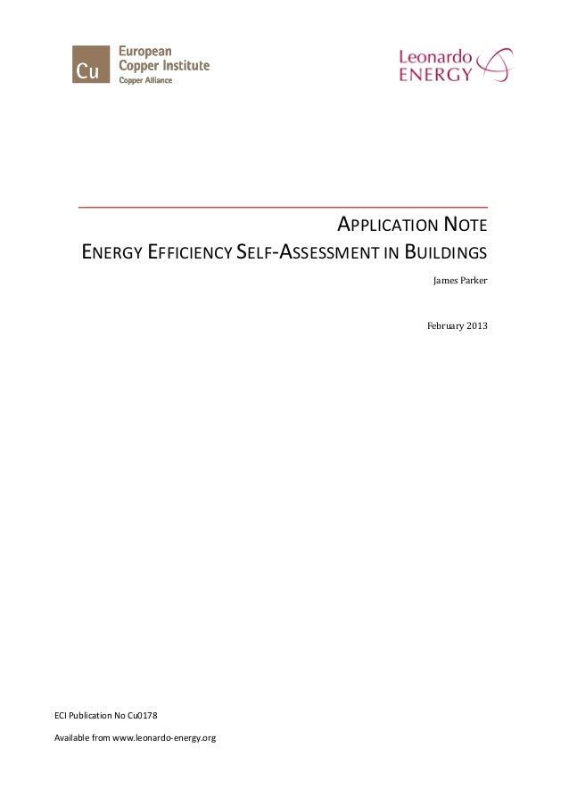 Energy Efficiency Self-Assessment in Buildings