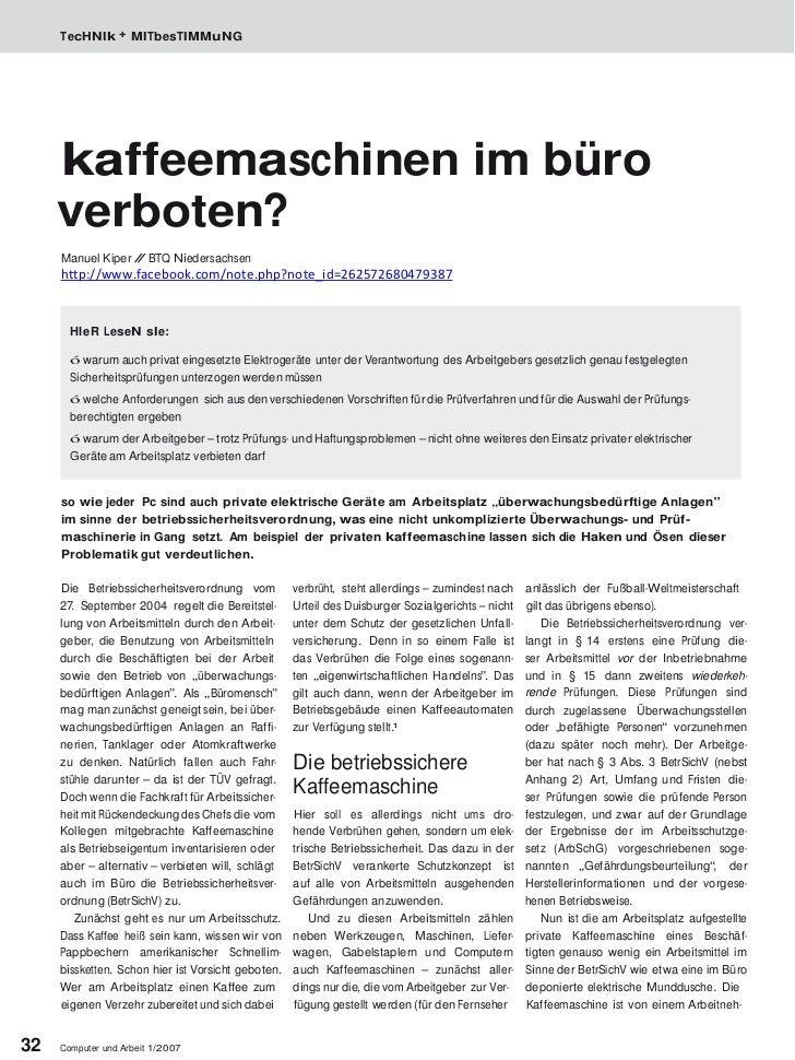 TecHNIk + MITbesTIMMuNG     kaffeemaschinen im büro     verboten?     Manuel Kiper / BTQ Niedersachsen                  / ...