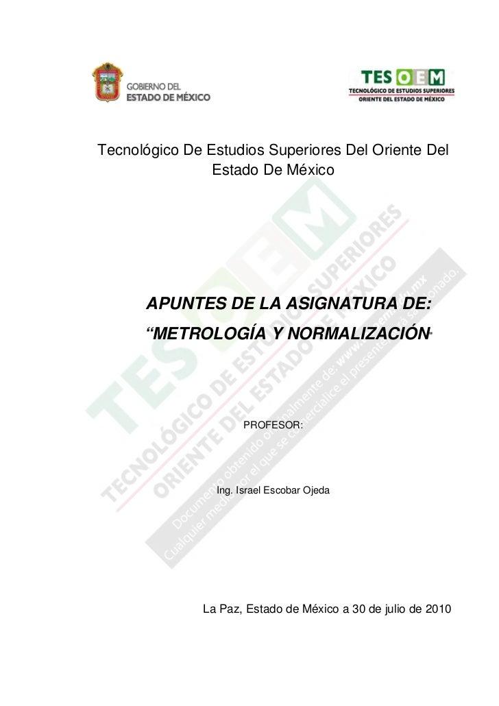 Tecnológico De Estudios Superiores Del Oriente Del                Estado De México      APUNTES DE LA ASIGNATURA DE:      ...