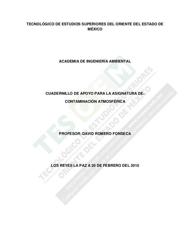 TECNOLÓGICO DE ESTUDIOS SUPERIORES DEL ORIENTE DEL ESTADO DEMÉXICOACADEMIA DE INGENIERÍA AMBIENTALCUADERNILLO DE APOYO PAR...