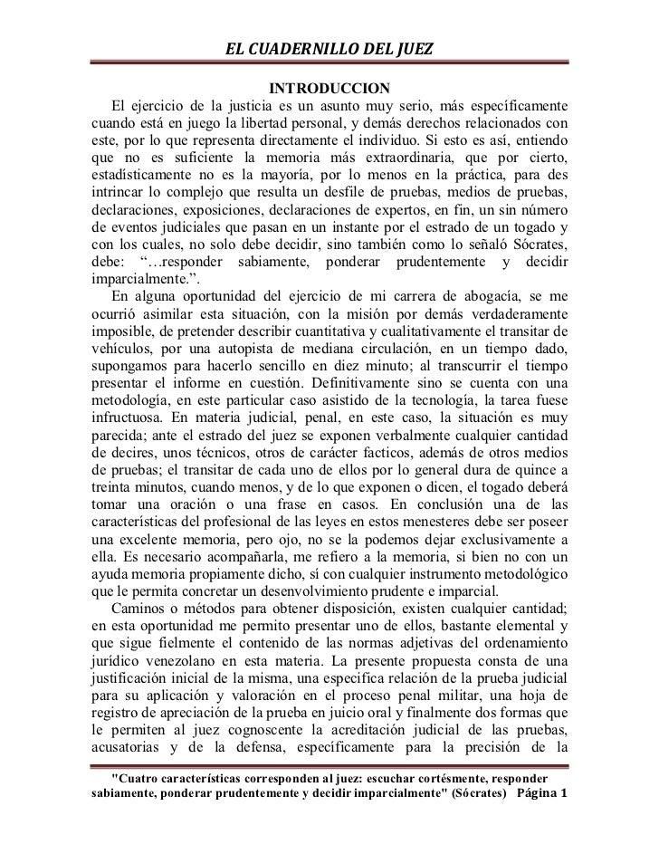 EL CUADERNILLO DEL JUEZ                               INTRODUCCION    El ejercicio de la justicia es un asunto muy serio, ...