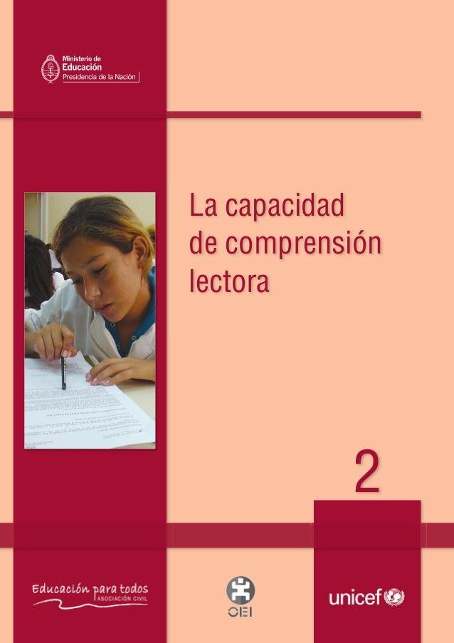 La capacidadde comprensiónlectora2Lacapacidaddecomprensiónlectora2Material de distribución gratuitaTapa 2 FINAL:1 15/6/201...