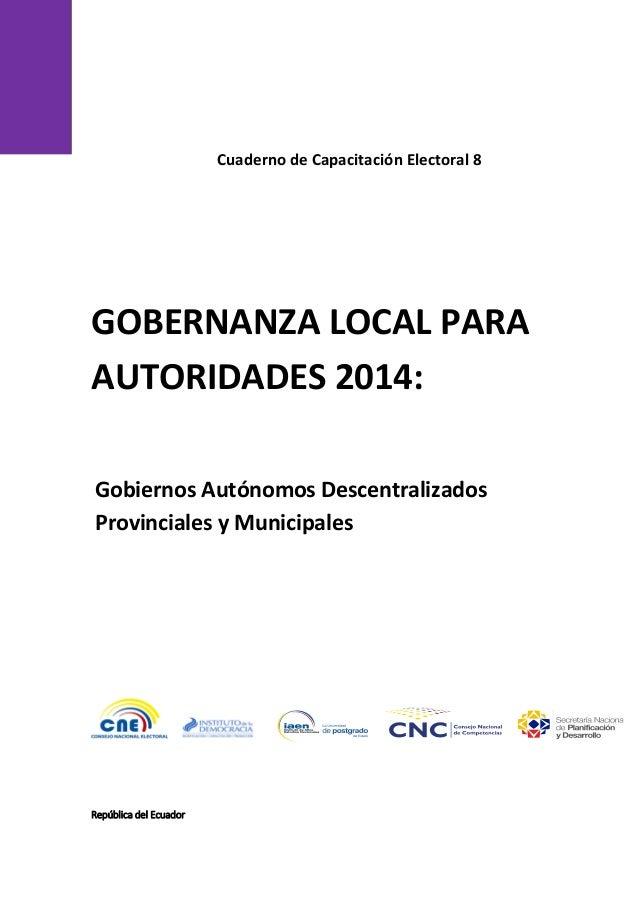 Gobernanza local para autoridades 2014