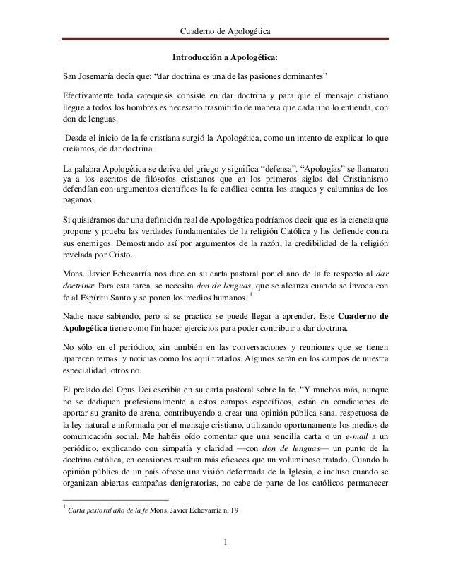"""Cuaderno de Apologética                                       Introducción a Apologética:San Josemaría decía que: """"dar doc..."""