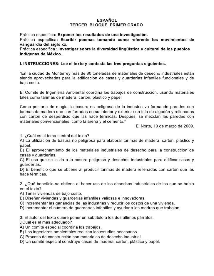 ESPAÑOL                           TERCER BLOQUE PRIMER GRADO  Práctica específica: Exponer los resultados de una investiga...