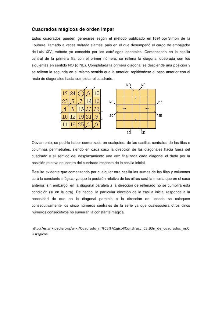 Cuadrados mágicos de orden impar Estos cuadrados pueden generarse según el método publicado en 1691 por Simon de la Louber...