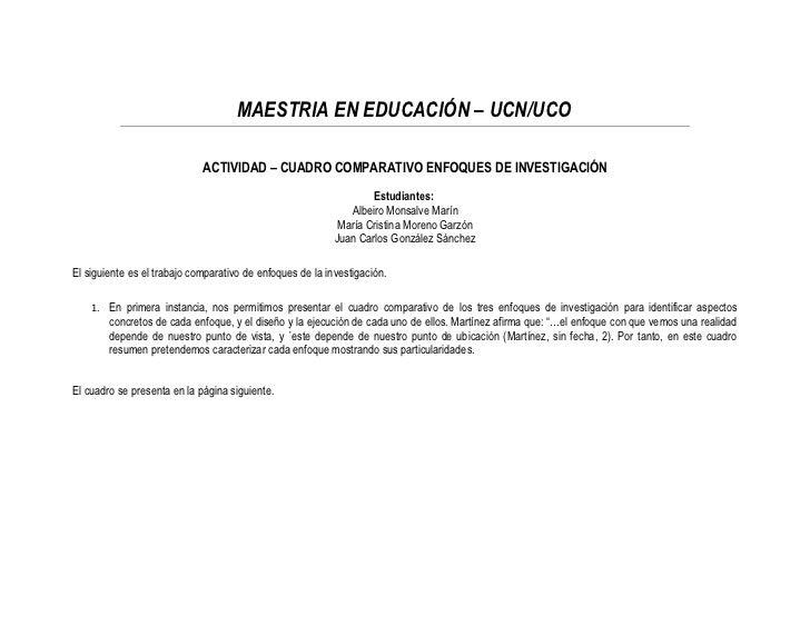 MAESTRIA EN EDUCACIÓN – UCN/UCO                             ACTIVIDAD – CUADRO COMPARATIVO ENFOQUES DE INVESTIGACIÓN      ...