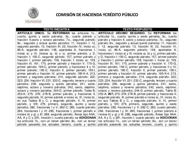 COMISIÓN DE HACIENDA YCRÉDITO PÚBLICO  TEXTO INICIATIVA ARTÍCULO ÚNICO. Se REFORMAN los artículos 1o., cuarto, quinto y se...