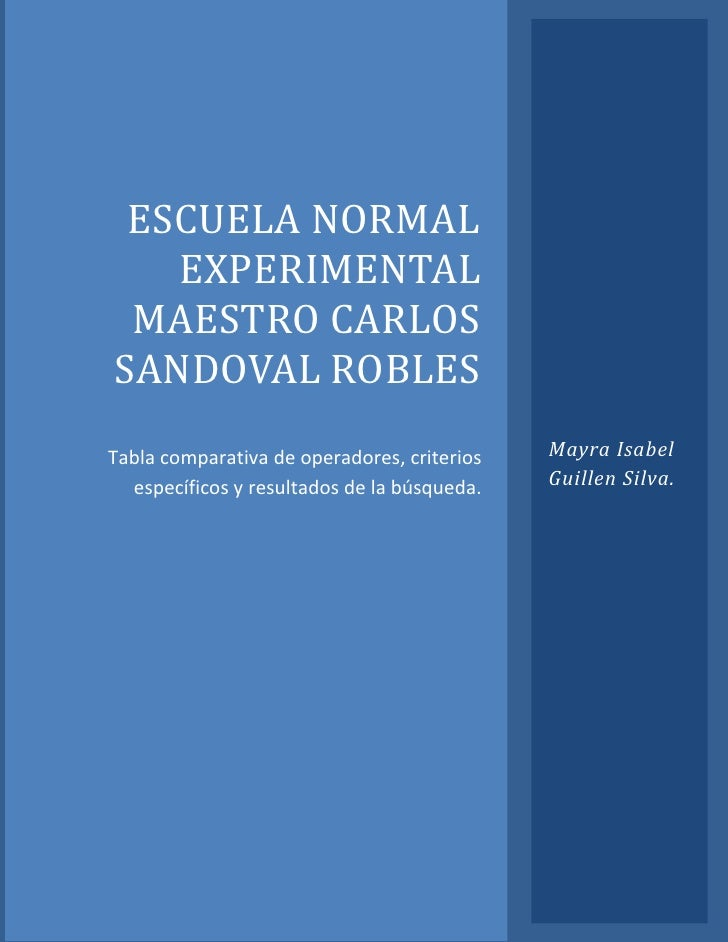 ESCUELA NORMAL   EXPERIMENTAL MAESTRO CARLOSSANDOVAL ROBLESTabla comparativa de operadores, criterios   Mayra Isabel  espe...