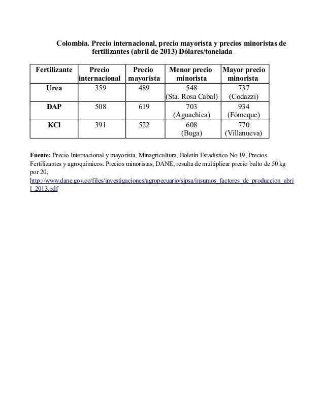 Cuadro internacional comparativo de fertilizantes