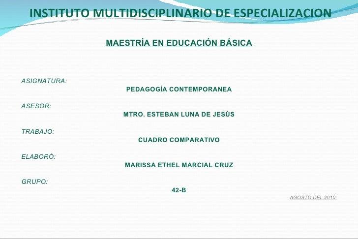 INSTITUTO MULTIDISCIPLINARIO DE ESPECIALIZACION <ul><li>MAESTRÍA EN EDUCACIÓN BÁSICA </li></ul><ul><li> </li></ul><ul...
