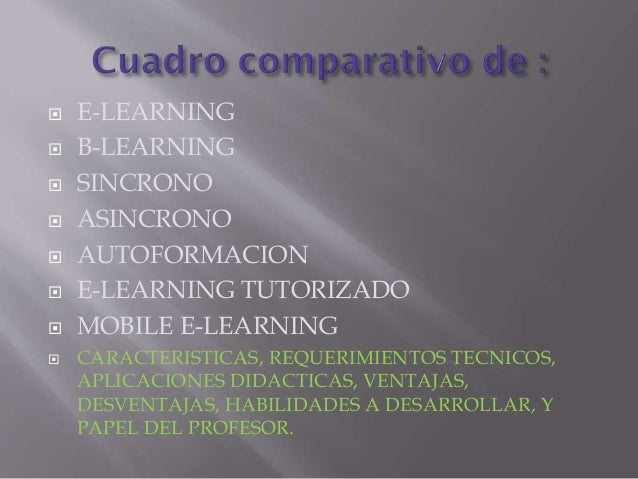         E-LEARNING B-LEARNING SINCRONO ASINCRONO AUTOFORMACION E-LEARNING TUTORIZADO MOBILE E-LEARNING CARACTERIS...