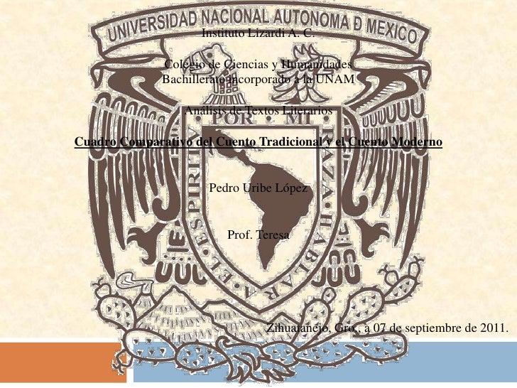 Instituto Lizardi A. C.<br />Colegio de Ciencias y Humanidades<br />Bachillerato incorporado a la UNAM<br />Análisis de Te...