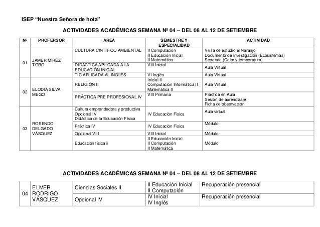 """ISEP """"Nuestra Señora de hota""""  ACTIVIDADES ACADÉMICAS SEMANA Nº 04 – DEL 08 AL 12 DE SETIEMBRE  Nº  PROFERSOR  AREA  SEMES..."""