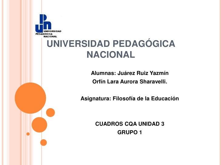 UNIVERSIDAD PEDAGÓGICA NACIONAL<br />Alumnas: Juárez Ruiz Yazmín<br />Orfín Lara Aurora Sharavelli.<br />Asignatura: Filos...