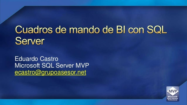 Eduardo Castro Microsoft SQL Server MVP ecastro@grupoasesor.net