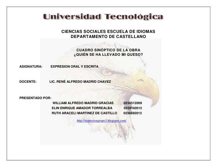 CIENCIAS SOCIALES ESCUELA DE IDIOMAS                          DEPARTAMENTO DE CASTELLANO                              CUAD...