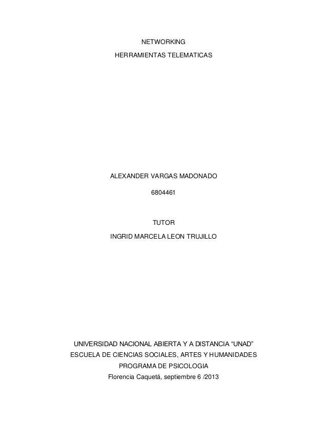 NETWORKING HERRAMIENTAS TELEMATICAS ALEXANDER VARGAS MADONADO 6804461 TUTOR INGRID MARCELA LEON TRUJILLO UNIVERSIDAD NACIO...