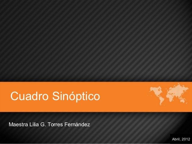 Cuadro SinópticoMaestra Lilia G. Torres Fernández                                    Abril, 2012