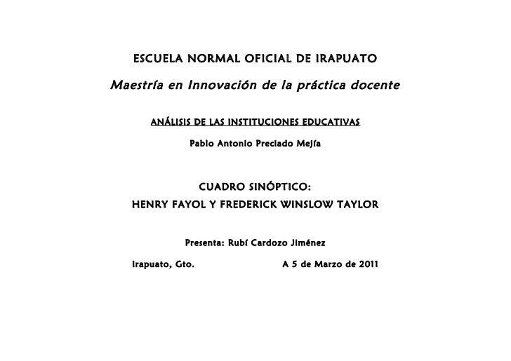 ESCUELA NORMAL OFICIAL DE IRAPUATOMaestría en Innovación de la práctica docente       ANÁLISIS DE LAS INSTITUCIONES EDUCAT...