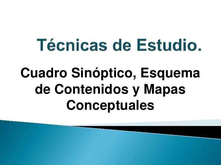 Cuadro Sinóptico, Esquema  de Contenidos y Mapas      Conceptuales
