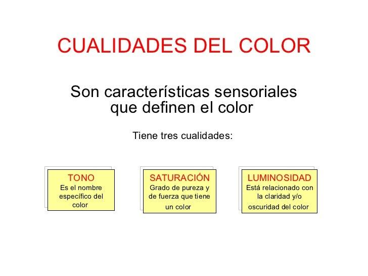 CUALIDADES DEL COLOR Son características sensoriales que definen el color  Tiene tres cualidades:  SATURACIÓN Grado de pur...