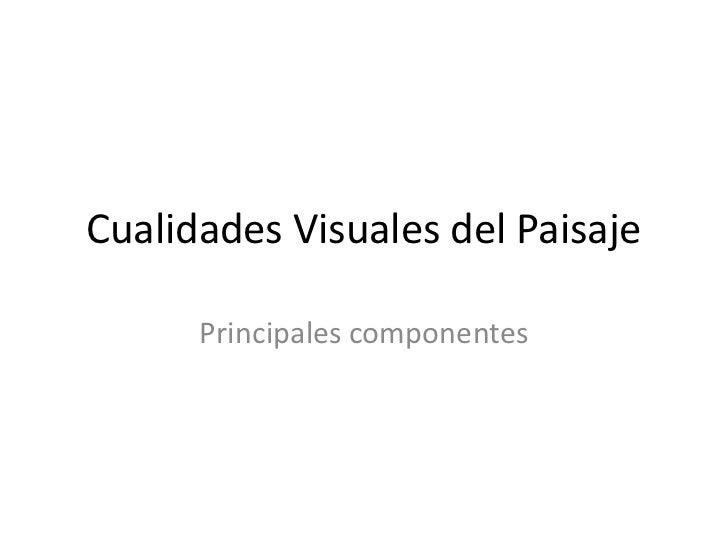 Cualidades Visuales del Paisaje      Principales componentes