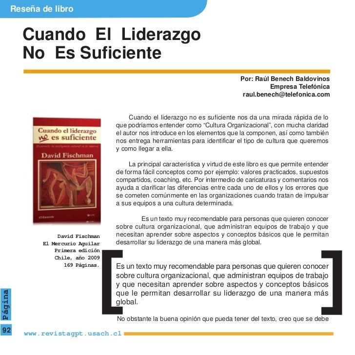 Reseña de libro           Cuando El Liderazgo           No Es Suficiente                                                  ...