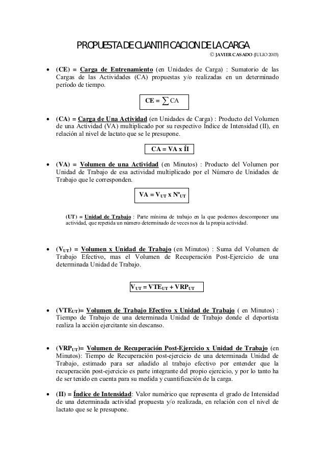 PROPUESTA DE CUANTIFICACION DE LA CARGA© JAVIER CASADO (JULIO 2003)• (CE) = Carga de Entrenamiento (en Unidades de Carga) ...