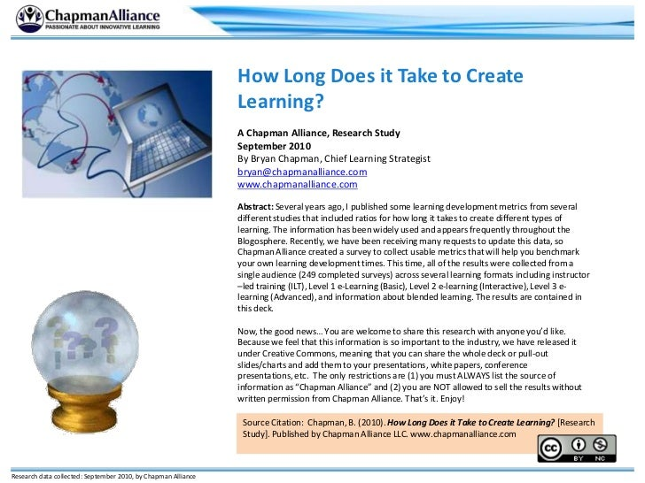 How Long Does it Take to Create Learning?<br />A Chapman Alliance, Research Study<br />September 2010<br />By Bryan Chapma...