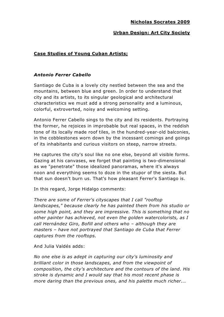 Nicholas Socrates 2009                                    Urban Design: Art City SocietyCase Studies of Young Cuban Artist...