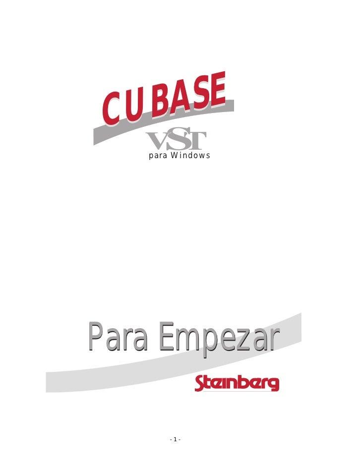 CUBASE   S  V T   para WindowsPara Empezar       -1-