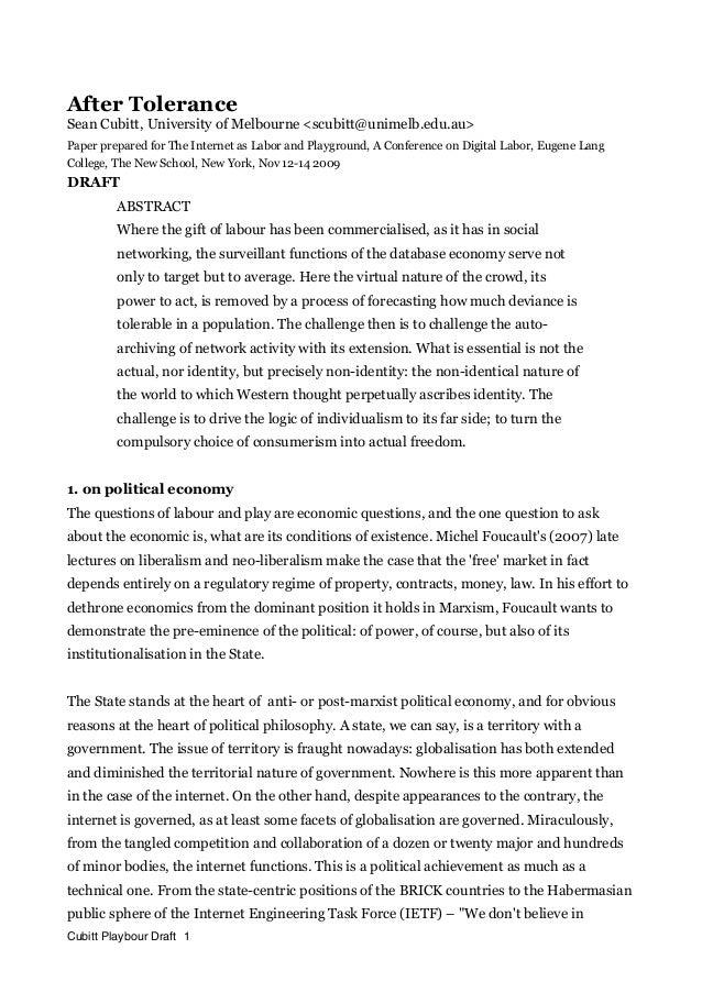 After Tolerance Sean Cubitt, University of Melbourne <scubitt@unimelb.edu.au> Paper prepared for The Internet as Labor and...