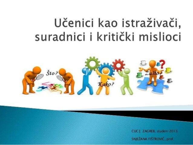 CUC ▏ZAGREB, studeni 2013. SNJEŽANA FIŠTROVIĆ, prof.