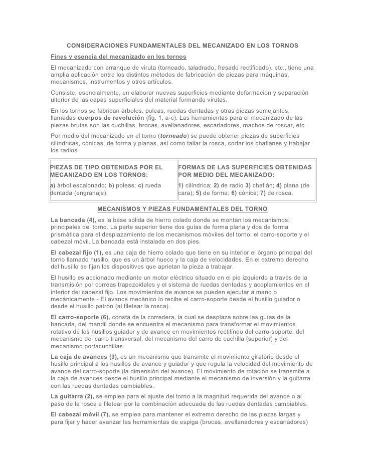 CONSIDERACIONES FUNDAMENTALES DEL MECANIZADO EN LOS TORNOSFines y esencia del mecanizado en los tornosEl mecanizado con ar...