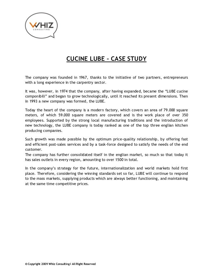 CUCINE LUBE – CASE STUDYThe company was founded in 1967, thanks to the initiative of two partners, entrepreneurswith a lon...