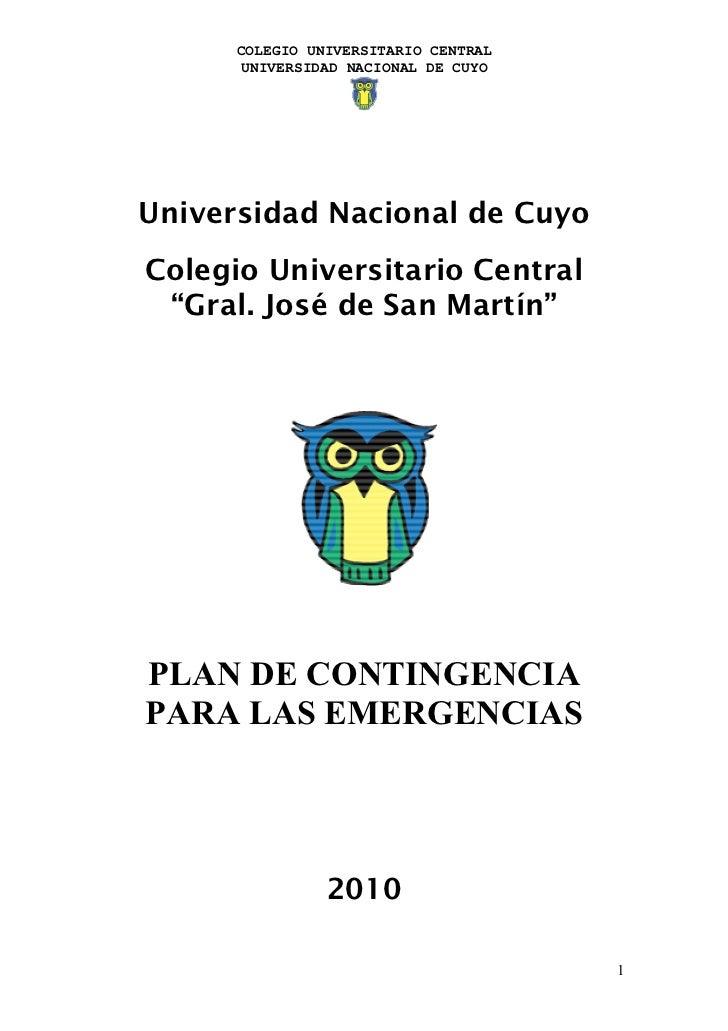 """COLEGIO UNIVERSITARIO CENTRAL      UNIVERSIDAD NACIONAL DE CUYOUniversidad Nacional de CuyoColegio Universitario Central """"..."""