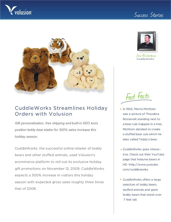 Volusion Success Story: CuddleWorks Streamlines Holiday Orders with Volusion