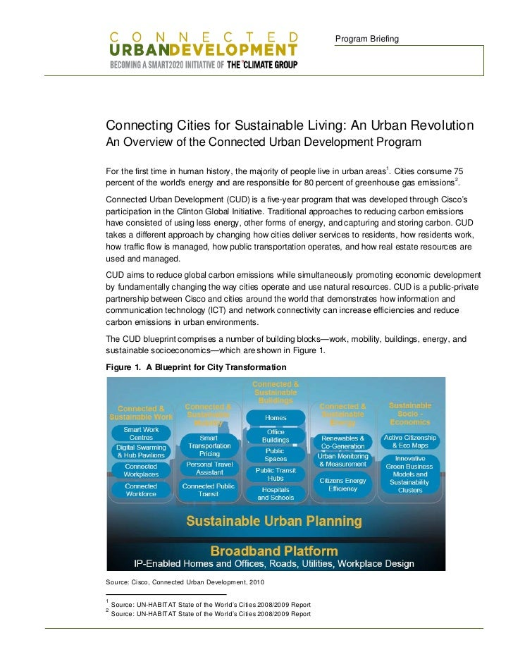 Program Briefing     Connecting Cities for Sustainable Living: An Urban Revolution An Overview of the Connected Urban Deve...