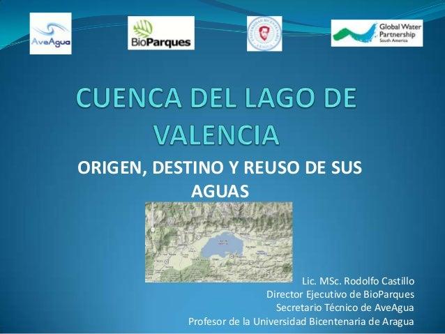 ORIGEN, DESTINO Y REUSO DE SUSAGUASLic. MSc. Rodolfo CastilloDirector Ejecutivo de BioParquesSecretario Técnico de AveAgua...