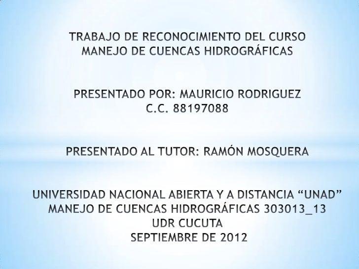 MANEJO DE CUENCAS HIDROGRÁFICAS                                                                           Unidades1. Sínto...