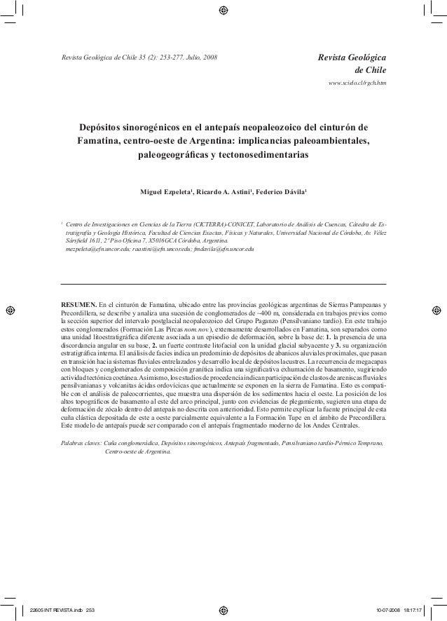 Depósitos sinorogénicos en el antepaís neopaleozoico del cinturón de  Famatina, centro-oeste de Argentina: implicancias pa...
