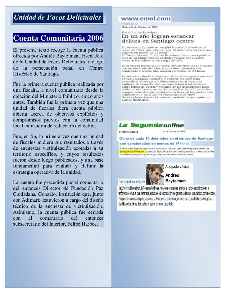 Cuenta comunitaria 2006 unidad de focos delictuales