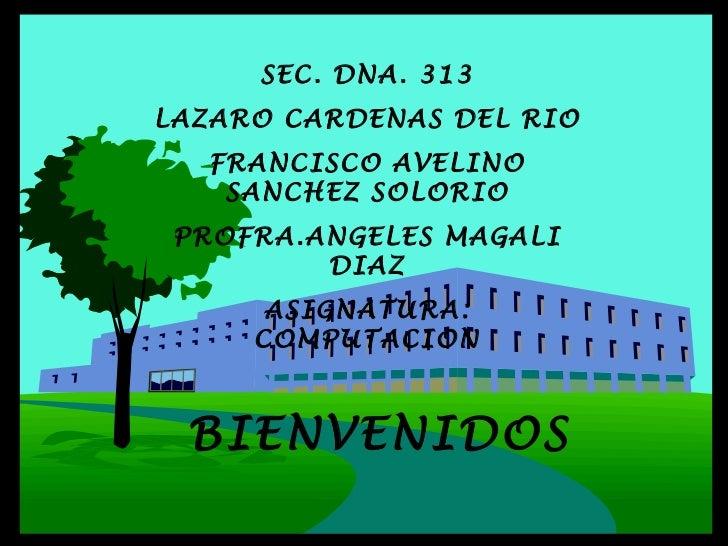 SEC. DNA. 313 LAZARO CARDENAS DEL RIO FRANCISCO AVELINO SANCHEZ SOLORIO PROFRA.ANGELES MAGALI DIAZ ASIGNATURA: COMPUTACION...